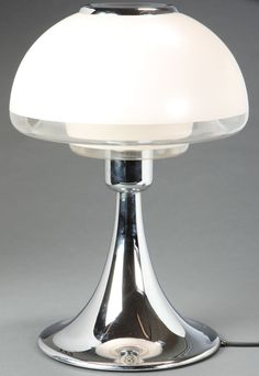 Verner Panton. VP-Europe table lamp, chromed stand, screened with clear and white opal glass. Produced by Louis Poulsen