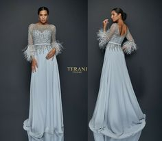 TERANI COUTURE 1921M0473 authentic dress. HOT SELLING STYLE ! FREE FEDEX   eBay Fall Dresses, Formal Dresses, Dresses Dresses, Glamorous Dresses, Terani Couture, Overall Dress, Chiffon Skirt, Couture Fashion, Women's Fashion