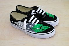 Hand Painted Eagle Feather Vans  White Grey & by BStreetShoes, $179.00