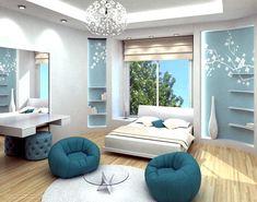 Extra Ordinary Blue Teenager Girl's Bedroom Interior Design