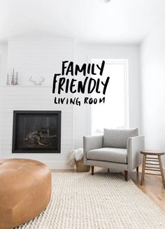 A Family Friendly Minimalist Living Room with lots of light. The full story on The Fresh Exchange.