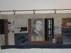 Memory Quilt with Custom Photos and Special Clothing.  This is a really cool idea. What a great family heirloom. I don't like that it's skinny and horizontal. Vertical panels would be so much more contemporary. Maybe use black fabric border and hang vertical memory quilts of the kids or pets or whatever.