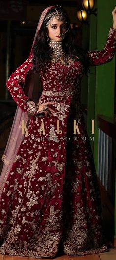Buy Online from the link below. We ship worldwide (Free Shipping over US$100) Click Anywhere to Tag Madirakshi Mundle in Kalki deep marron velvet anarkali suit with intricate zardosi and sequin embroidery Deep maroon anarkali suit is all you want to rock the reception party.Slay in this velvet suit that is intricately constructed using zardosi in floral motifs and is highlighted with sequin detailings.