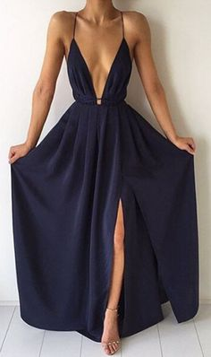 PRODUCT DETAILS - Maxi dress - Long - Backless - Strappy - Chiffon - Slit