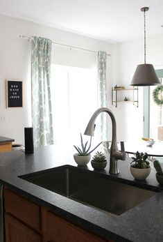 Kitchen Countertops Remodeling leathered granite countertops, why its a good fit for modern kitchens on a budget Countertop Concrete, Grey Granite Countertops, Kitchen Countertop Materials, Kitchen Countertops, Kitchen Cabinets, Gray Granite, Countertop Options, Budget Kitchen Remodel, Kitchen On A Budget