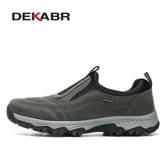 wholesale dealer d80ca 5c1ba DEKABR Real Leather Outdoor Shoes Men Sports Hiking Shoes Trainers Climbing  Trekking Shoes Slip On Hiking