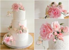 Romantic wedding cake, handmade gumpaste flowers. 3- tier cake, With pink and white roses, peony, sweet pea and ranunculus. All cakes are decorated with RY damast print. Cake made by T-Gård SweetCakes.