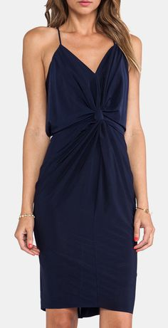 T-Bags LosAngeles Knot Front Knee Length Dress in Navy
