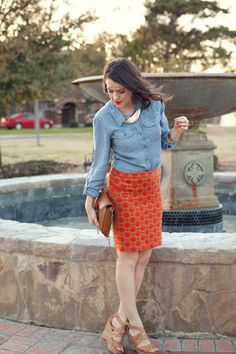 I really like the combo of the chambray shirt with the fancier, bright pencil skirt.