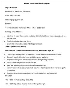 sample football trainer coacsample football trainer coach resume templateh resume template how to make a - Coaching Resume Template