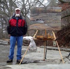 "Bill Guffey standing next to the painting he created on Christmas Day: ""Limestone Christmas,"" oil, 30 x 40 in; collection the artist. Read about Guffey's Christmas day tradition... http://www.outdoorpainter.com/news/a-christmas-plein-air-tradition.html"