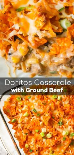 Doritos Casserole with Ground Beef is an easy dinner recipe the whole family will love. This hearty casserole is loaded with ground beef, cream cheese, corn, black beans, shredded cheese and topped with crumbled Doritos. Ground Beef Recipes For Dinner, Dinner With Ground Beef, Easy Dinner Recipes, Easy Meals, Easy Recipes, Casseroles With Ground Beef, Meals To Make With Ground Beef, Ground Beef Meals, Ground Beef Nachos