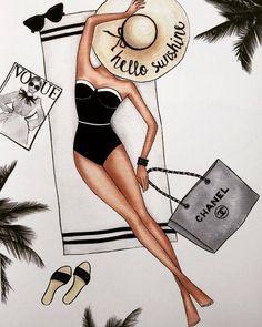 Illustration Mode, Fashion Illustration Sketches, Fashion Sketches, Mode Poster, Graphisches Design, Foto Fashion, Photocollage, Summertime Sadness, Fashion Wall Art