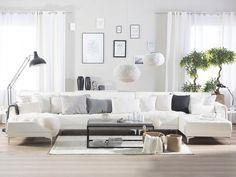 Abbie Faux Leather Modular Corner Sofa with Ottoman - White Leather Modular Sofa, White Leather Sofas, Faux Leather Sofa, Leather Corner Sofa, Leather Fabric, White Sofa Bed, White Sofas, Aberdeen, Sofa Design