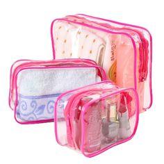 3PCS/Set Waterproof Transparent Cosmetic Bag Women Portable Toiletry Kits Cosmetic Organizer Brand Make Up Bags Free Shipping