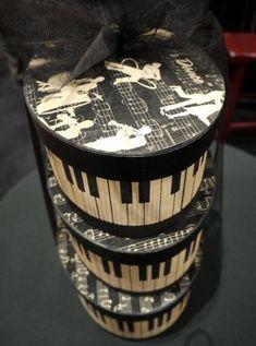 Piano Keys Altered Hat Box