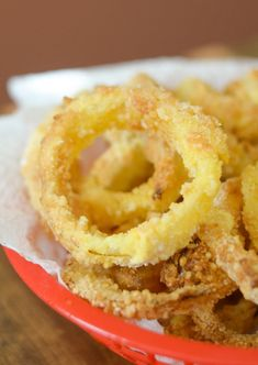 Easy Air Fryer Onion Rings Recipe can be made gluten free as well. These are a great option for a side dish to smoked meats or even a delicious barbecue. They can be made in mere minutes using the air fryer without any oil! That means less calories and fa