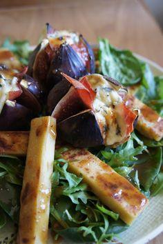Gourmandises et Merveilles: Salade aux figues, jambon cru et fourme d'Ambert, frites de panisse