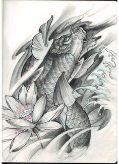 Chronic Ink Tattoo - Toronto Tattoo Custom Koi fish and lotus sketch by David.