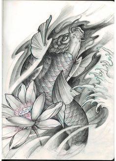 Chronic Ink Tattoo - Toronto Tattoo Custom Koi fish and lotus sketch by David.