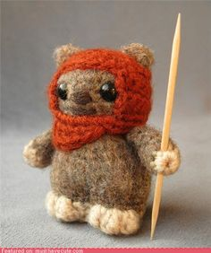 this knitted ewok would be a reason for me to learn to knit.