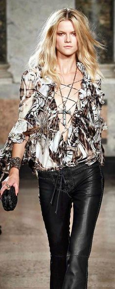 """Love this blouse (can't wear the pants at our age but """"when I was young"""").  Emilio Pucci  (pinned from 'The All Hate Us')"""