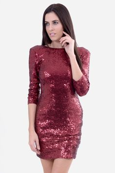 BlinQ Red Long Sleeve Bodycon Dress | NeedThatLook.com #NeedThatLook NYE Bodycon Dress With Sleeves, Dresses With Sleeves, Sequin Dress, High Neck Dress, Sequins, Nye, Formal Dresses, Long Sleeve, Fashion