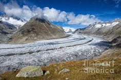 The impressive Aletsch Glacier, Valais, Switzerland. One of the most beautiful landscapes in the Swiss Mountains. Click here to purchase a poster, print or canvas print starting $32: http://fineartamerica.com/featured/aletsch-glacier-switzerland-swiss-alps-matthias-hauser.html Watermark will not appear on final product. 30 days money back guarantee.