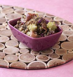 Salade de lentilles au jambon cru et chou romanesco