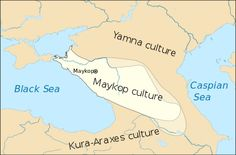 The Maykop culture (also spelled Maikop), ca. 3700 BC—2500 BC, was a major Bronze Age archaeological culture in the Western Caucasus region of Southern Russia.  It extends along the area from the Taman Peninsula at the Kerch Strait to near the modern border of Dagestan and southwards to the Kura River. The culture takes its name from a royal burial found in Maykop in the Kuban River valley. @Wikipedia.org