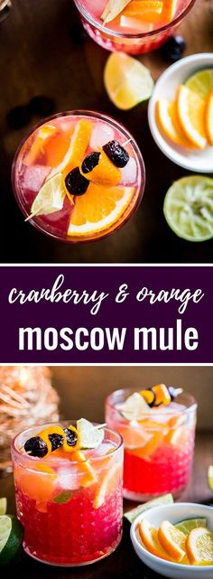 This Orange Cranberry Moscow Mule is the perfect holiday drink! A festive spin o… ) ) This Orange Cranberry Moscow Mule is the perfect holiday drink! A festive spin on a traditional cocktail made with cranberry juice and fresh oranges. Drinks With Cranberry Juice, Cranberry Cocktail, Orange Drinks, Mix Drinks With Vodka, Orange Juice Alcoholic Drinks, Orange Vodka, Cranberry Vodka, Bourbon Drinks, Orange Orange