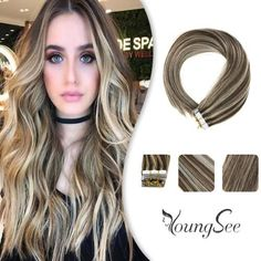 Youngsee Real Human Hair Tape in Extensions Dark Brown with Golden Blonde Piano Color Remy Seamless Tape Hair Extensions Per Package – youngsee Curly Hair Styles, Natural Hair Styles, Ash Blonde Highlights, Hair Tape, Medium Blonde, Tape In Hair Extensions, Golden Blonde, Hair Restoration, Hair Pictures