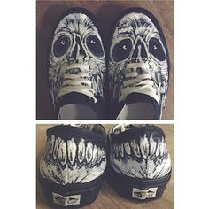 |the great @Anne Hanson finished up these custom vans for me today| skull edition | #vans #custom #painted #shoes #sneakers #shoegame | go ...