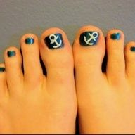 Cute, simple toe nail design. Maybe add some stripes on the other toes?