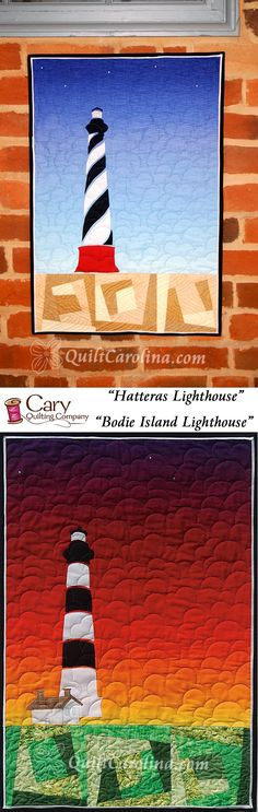 """""""Bodie Island Lighthouse"""" – this stunning mini quilt uses paper piecing, appliqué and an ombre background fabric to depict the Bodie Island or Cape Hatteras Lighthouses on the coast of North Carolina! A 2017 Quilt! Carolina pattern."""