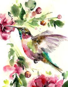 Pintura Art Print de acuarela de pájaro verde rosado de la