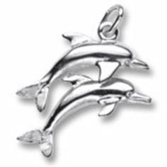 Two Dolphins Charm In Sterling Silver