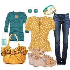 Mustard & Turquoise Obsessed!, created by fleurdelove on Polyvore  Would def sub in some cute flats instead!