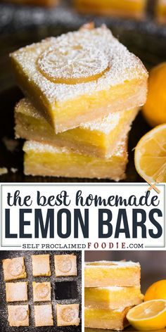Homemade Lemon Bars, also known as Lemon Squares, are a super sweet and tart bar cookie.  The base is a rich and delicious lemon shortbread. The top is a creamy and heavenly lemon custard layer. The ration of lemon to shortbread is perfect. This is the best lemon bar recipe you will find! #lemonbars #lemonsquares #dessert #lemon #fresh #homemade