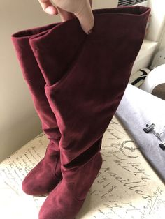 d44b9d7b8 Is it hot in here or is it just these boots? The wine red faux suede  slouchy style fits your calves like a second-skin. Wide Calf Size Calf fit  by size Heel ...