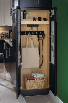 to Convert Your Closet Into Something Awesome traditional kitchen 5 Ways to Convert Your Closet Into Something Awesome ---A charging station!traditional kitchen 5 Ways to Convert Your Closet Into Something Awesome ---A charging station! Kitchen Redo, Kitchen Pantry, Kitchen And Bath, Kitchen Storage, Kitchen Organization, Kitchen Ideas, Kitchen Designs, Hidden Kitchen, Organization Station