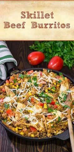 Looking for a fun way to mix up week night dinners? Mix the burritos right into the filling with these tasty Skillet Beef Burritos! Entree Recipes, Wrap Recipes, Easy Dinner Recipes, Dinner Ideas, Grilled Jerk Chicken, Grilled Peppers And Onions, Brisket Tacos, Taco Salad Bowls, Recipe Maker