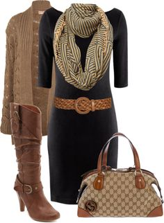 Black dress + camel cardi, boots, belt