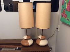 Great pair mid century modern retro table lamps w shades Eames Panton era