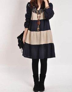 Dark blue cotton dress casual loose dress by originalstyleshop