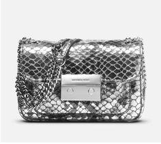 MICHAEL Michael Kors Small Metallic Python Print Sloan Crossbody Silver Bag  #MichaelKors #CrossBody