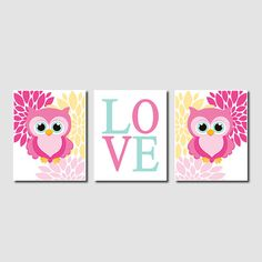 Owl Nursery Decor Owl Wall Art Pink Baby Girl por LovelyFaceDesigns
