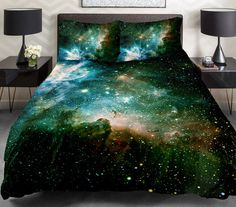 Green galaxy bedding set green galaxy duvet cover by Tbedding
