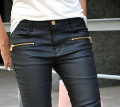 Zara. waxed effect trousers