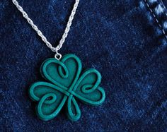 green knotwork necklace old stone irish shamrock necklace small celtic knot shamrock jewelry celtic fantasy st patricks sign polymer clay